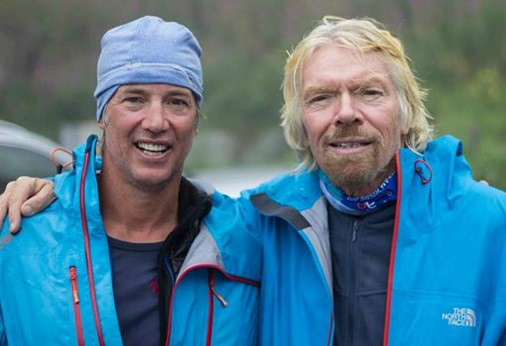 Justin Packshaw with Richard Branson during expedition to the South Pole